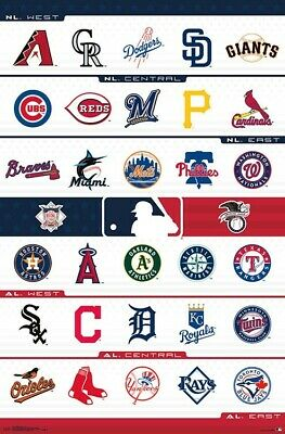 MLB - 2019 TEAM LOGOS POSTER - 22x34 - BASEBALL 17619