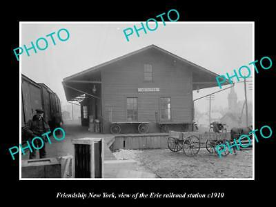 OLD LARGE HISTORIC PHOTO OF FRIENDSHIP NEW YORK, ERIE RAILROAD STATION c1910 2
