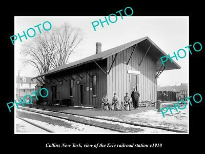 OLD LARGE HISTORIC PHOTO OF COLLINS NEW YORK, THE ERIE RAILROAD STATION c1910