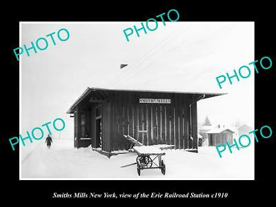 OLD LARGE HISTORIC PHOTO OF SMITHS MILL NEW YORK, ERIE RAILROAD STATION c1910 1