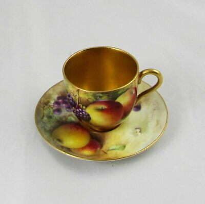 Royal Worcester Hand Painted Fruit Demitasse Cup & Saucer Signed Townsend & Cole