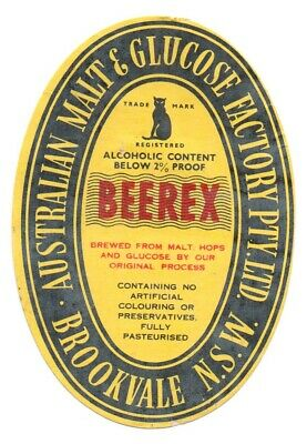 Very Rare Early Brookvale ''beerex'' Beer/ Stout Brewery Bottle Label