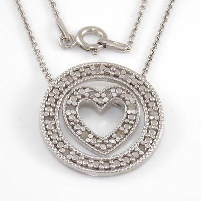 Sterling Silver Natural Diamond Round Circle Heart Pendant Chain Necklace 18""