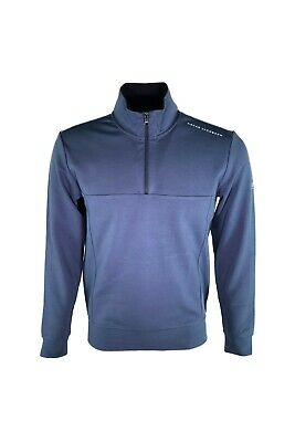 Oscar Jacobson Hawkes Course 1/4 Zip Sweater Pullover Blue XXL RRP£69 SAVE ££'s