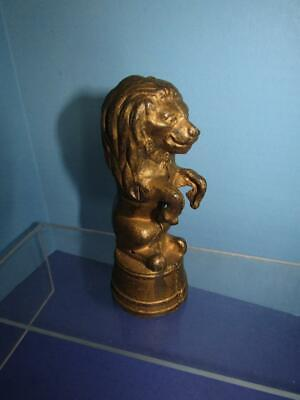"Vintage  Lion On Tub Cast Iron Coin Bank 5.5"" Tall A C Williams"