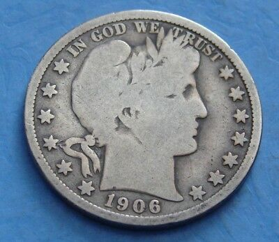 1906 - O Silver Barber Half Dollar - Antique - Free Shipping - Vintage