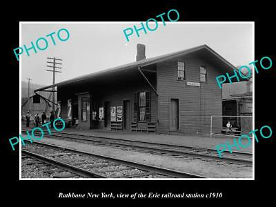OLD LARGE HISTORIC PHOTO OF RATHBONE NEW YORK, ERIE RAILROAD STATION c1910 1