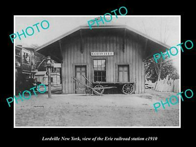 OLD LARGE HISTORIC PHOTO OF LORDVILLE NEW YORK, ERIE RAILROAD STATION c1910