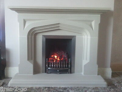 Quality New  Stone Fireplace In Off White