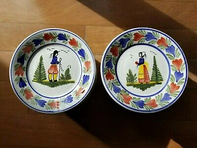 """24 Henriot Quimper France Faience Pottery Breton Man and Woman Plates 7 1/4 """""""