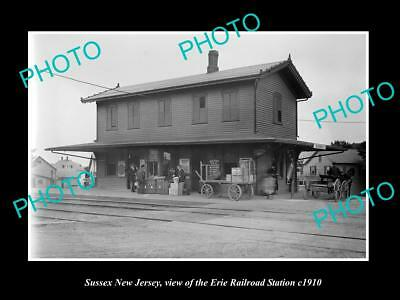OLD LARGE HISTORIC PHOTO OF SUSSEX NEW JERSEY, ERIE RAILROAD STATION c1910 1