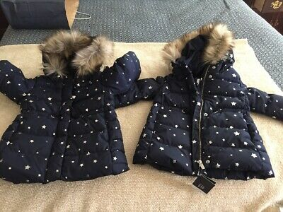 NWT 2 Baby Girls 2T ** BABY GAP ** Down Fill Coat Jacket With Faux Fur- TWINS???