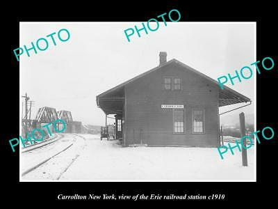 OLD LARGE HISTORIC PHOTO OF CARROLLTON NEW YORK, ERIE RAILROAD STATION c1910 2