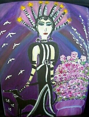 The Deco Rose Beautiful Art Deco Lady Stylish Painting by Linda Stamberger