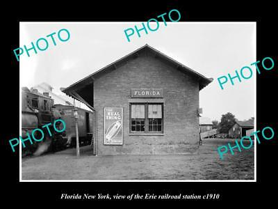 OLD LARGE HISTORIC PHOTO OF FLORIDA NEW YORK, ERIE RAILROAD STATION c1910 1