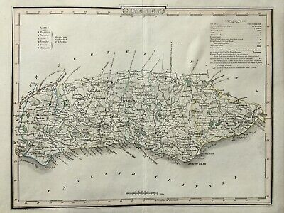 1804 Antique County Map of Sussex - Roper & Cole