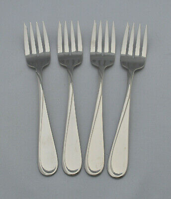 """Oneida FLIGHT/RELIANCE Stainless - Four 6 3/4"""" Salad Forks - Glossy"""