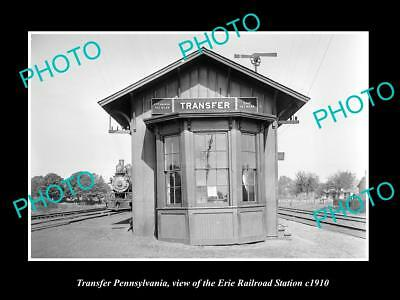 OLD LARGE HISTORIC PHOTO OF TRANSFER PENNSYLVANIA, ERIE RAILROAD STATION c1910 1