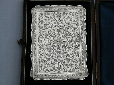 Stunning Victorian Boxed Robert Thornton 1869 Solid Sterling Silver Card Case