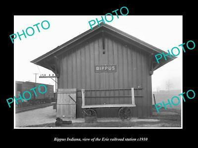 OLD LARGE HISTORIC PHOTO OF BIPPUS INDIANA, THE ERIE RAILROAD STATION c1910 3