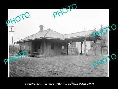 OLD LARGE HISTORIC PHOTO OF CANISTEO NEW YORK, ERIE RAILROAD STATION c1910 2