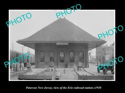 OLD LARGE HISTORIC PHOTO OF PATERSON NEW JERSEY, ERIE RAILROAD STATION c1910 2