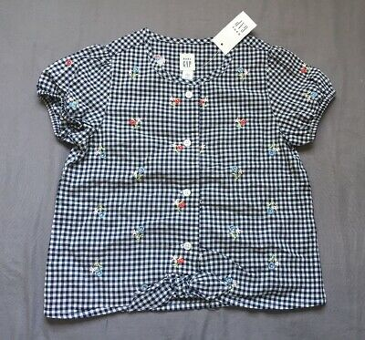 Toddler Girl Size 5 5T Baby Gap Navy & White Gingham Floral Stitched Tie Top