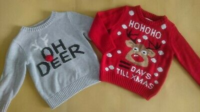 Nice Xmas Christmas H&M Matalan Boy Occasion Party Casual Bundle Jumpers 2/3 Yrs