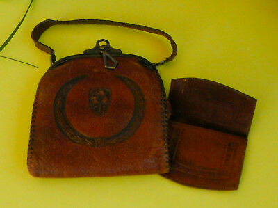 Leather Purse - Antique Leather Purse – Collectible Purse – Embossed Leather Bag