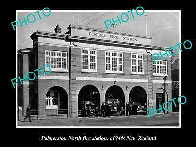 Old Large Historic Photo Palmerston North Fire Brigade Station 1940 New Zealand