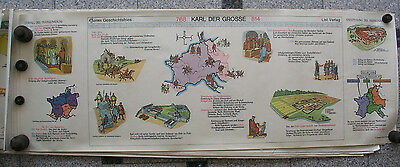 Wall Picture Geschichtsfries Karl the Great 139x50 Vintage Charlesmagne Map ~ 65