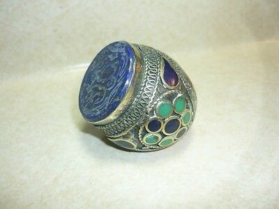 RARE Antique Arabic ISLAMIC PERSIAN Prophet Ornate seal  SILVER RING size 11.5