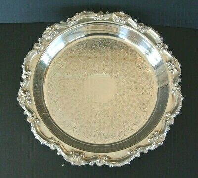 "Antique EPCA Bristol by Poole #85 Silverplate 12"" Ornate Footed Serving Tray"