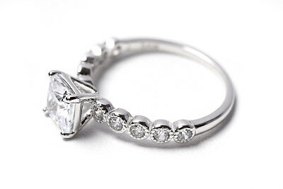Size9 #3393L 925 Sterling Silver /& Princess cut CZ w// White Gold finished Ring