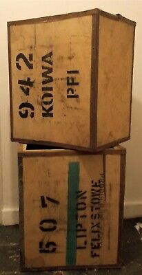 Vintage Large Wooden Tea Chest Packing Box Pre-Owned