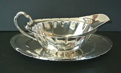 Antique Reed & Barton #6300 Silverplate EPNS Gravy Boat with Underplate