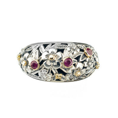 Gerochristo 2937N ~ Solid Gold & Sterling Silver Floral Band Ring with Rubies