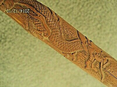 Antique CHINESE HANDCARVED BAMBOO CANE w/ FEMALE DIETY & DRAGON; ARTIST SIGNED