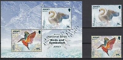 JERSEY 2019 EUROPA CEPT NATIONAL BIRDS .Set 2 stamps+Block MNH