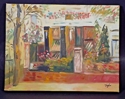 Cityscape oil painting on canvas storefront 12 x 16 signed original unframed