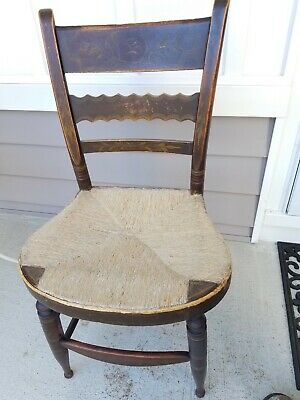 Antique Accent Chair Caned Seat- Rose painted, home made nails, Pa. made