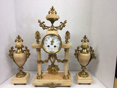 Antique French Clock and Garniture Set - Marble and Brass