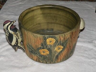 Weller Woodcraft Art Pottery Jardiniere Planter with  Woodpecker Mushroom Large