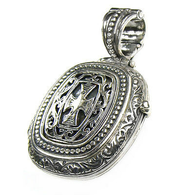 Gerochristo 3357 ~ Medieval-Byzantine Sterling Silver Locket Pendant with Cross