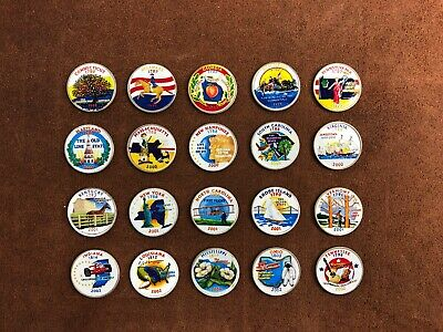 20 Painted State Quarters Perfect Condition