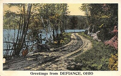 Defiance Ohio~Rutted Dirt Auto & Wagon Path Along Maumee River~1920s Postcard