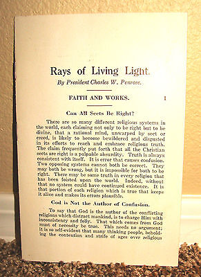 Rays of Living Light Faith and Works by Charles W. Penrose LDS Mormon Pamphlet