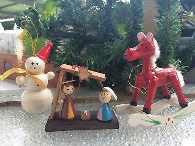 Vintage Wooden Christmas Tree Ornaments