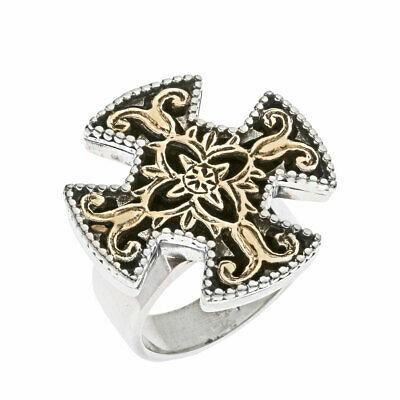 Savati ~ Solid Gold & Sterling Silver Byzantine Large Filigree Cross Ring