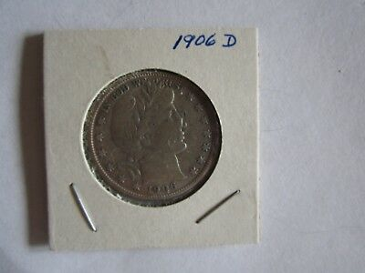 1906-D 50C Barber Half Dollar Fine condition, beautiful, leaves & stars clear